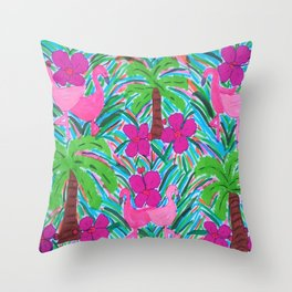 Beach Party with Palms and Flamingos Throw Pillow