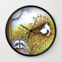 Silly Dog  Jack Russell Terrier, Raccoon, Landscape Painting, Original Art Wall Clock
