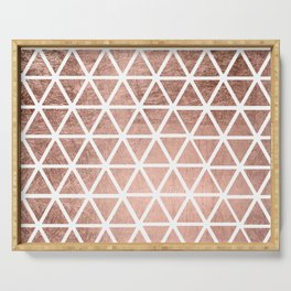 Geometric faux rose gold foil triangles pattern Serving Tray