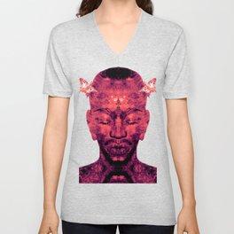 Brother Meditation - red purple Unisex V-Neck
