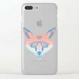 Pastel Fox Pattern Clear iPhone Case