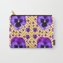 PURPLE PANSIES  FLOWERS & YELLOW PATTERNS  ART Carry-All Pouch