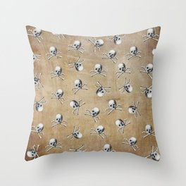 Vintage Pirate Skull and Crossbones on Texture Throw Pillow
