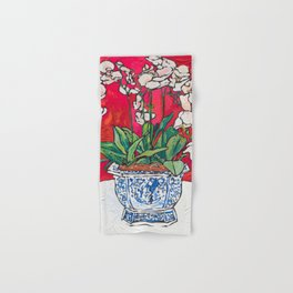 Orchid in Blue-and-white Bird Pot on Red after Matisse Hand & Bath Towel
