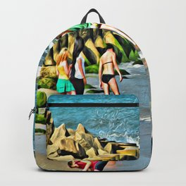 Day At the Beach - Photo rendered as painting Backpack