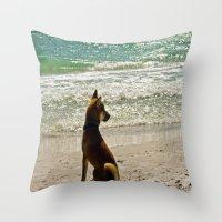 shiba inu Throw Pillows featuring Shiba Inu by Blue Lightning Creative