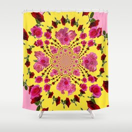 PINK-RED ROSES ON YELLOW-PINK ART Shower Curtain