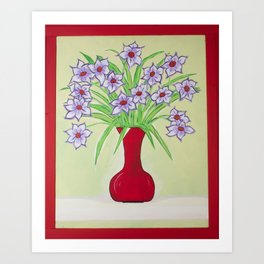 Purple Flowers Red Vase Art Print