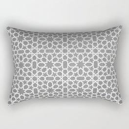 Grey, white Design - Geometric oriental pattern, traditional Morocco Style Rectangular Pillow