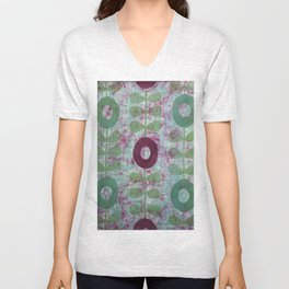 Zinnias in Purple and Green Unisex V-Neck