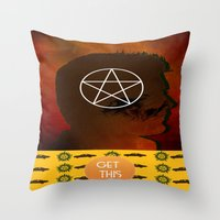 dean winchester Throw Pillows featuring dean winchester by Papa-Paparazzi