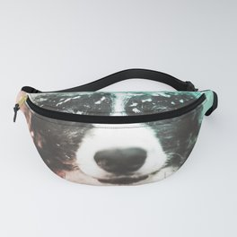 Border Collie Digital Watercolor Painting Fanny Pack
