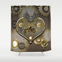 motorcycle Shower Curtains featuring Steampunk, motorcycle  by nicky2342