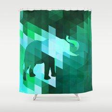 Emerald Elephant Shower Curtain
