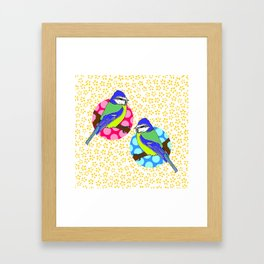 Blue Tits on White and Mustard Yellow Floral Pattern Framed Art Print