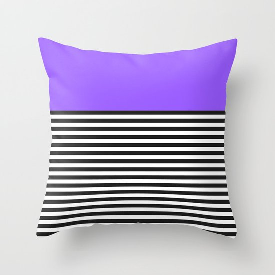 STRIPE COLORBLOCK {PURPLE} Throw Pillow