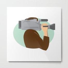 cameraman movie video camera side retro Metal Print