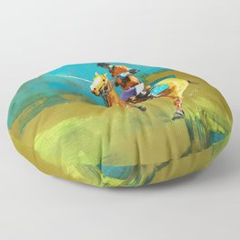 poloplayer abstract turquoise ochre Floor Pillow