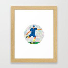 Rugby Player Kicking Ball Circle Low Polygon Framed Art Print