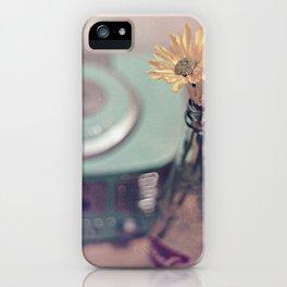 daisies with vintage radio iPhone Case