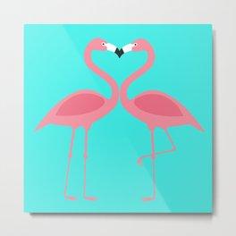 Flamingos Kissing Metal Print