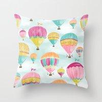 hot air balloons Throw Pillows featuring Hot Air Balloons by Jill Byers
