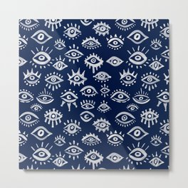 Mystic Eyes – White on Navy Metal Print