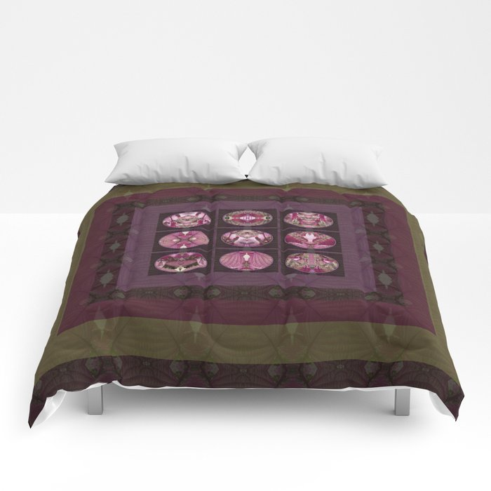 Red Shiso Positive Messages Quilt Art Comforters