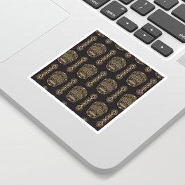 Mexican Sugar Skulls Gold on Black Sticker
