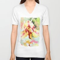 water colour V-neck T-shirts featuring Water colour parrot tulip by thea walstra
