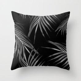 Silver Gray Black Palm Leaves Dream #1 #tropical #decor #art #society6 Throw Pillow