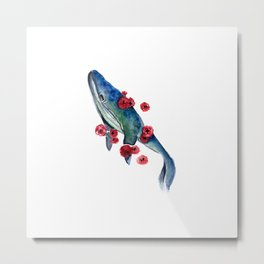 Watercolor whale and red flowers Metal Print