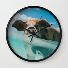 Pig in water Wall Clock