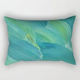 Blue-Green Brush Strokes Rectangular Pillow