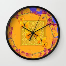 Golden Yellow Butterflies Orchid Sprays Purple Lilac Patterns Wall Clock