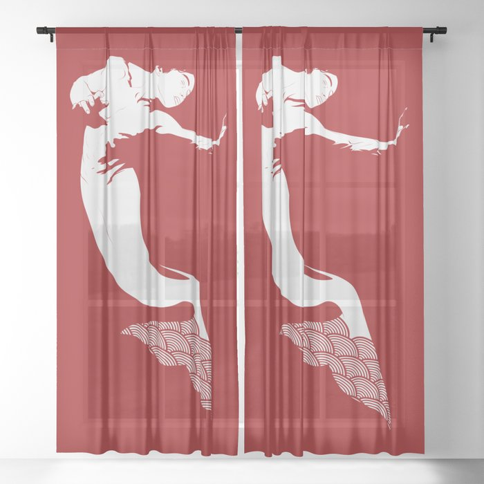 Merman - Red & White - Mermay 2019 Sheer Curtain