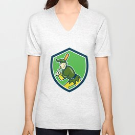 Elf Baseball Player Batting Shield Cartoon Unisex V-Neck