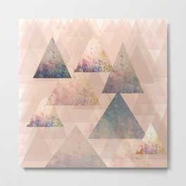 Pastel Abstract Textured Triangle Design Metal Print