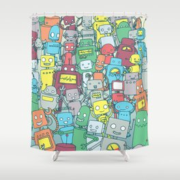 Robot Party Shower Curtain