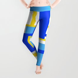 Rectangles - Blues, Yellow and White Leggings