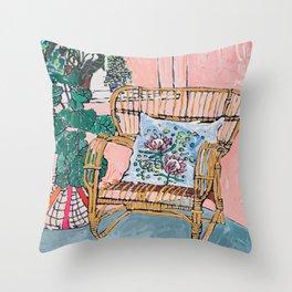 Cane Chair After David Hockney Throw Pillow