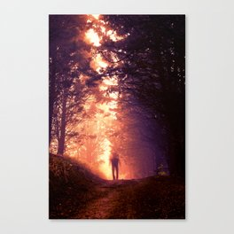 Blurred man in the woods Canvas Print