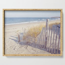 Taupe and Blue Seascape Serving Tray