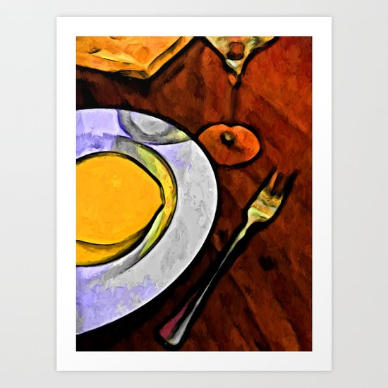 Gold Lemon and Fork Art Print
