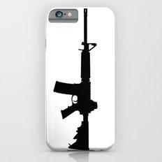 AR15 in black silhouette on white iPhone 6s Slim Case