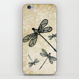 Dragonflies on tan texture iPhone Skin