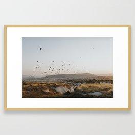 Hot air balloons flying over Cappadoccia, Turkey Framed Art Print