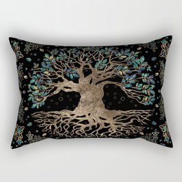 Tree of life -Yggdrasil Golden and Marble ornament Rectangular Pillow