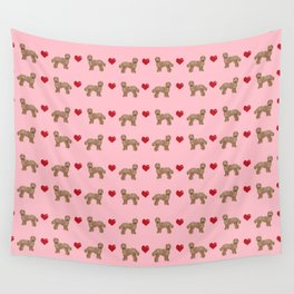 Labradoodle valentines day hearts dog breed pet pattern labradoodles Wall Tapestry