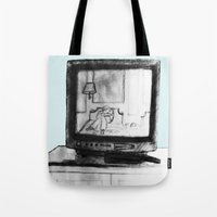 tv Tote Bags featuring Television by Brontosaurus